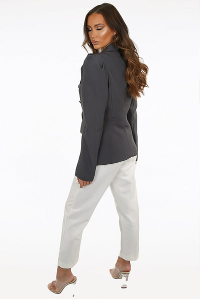 Charcoal Puff Sleeve Double Breast Blazer - Fern