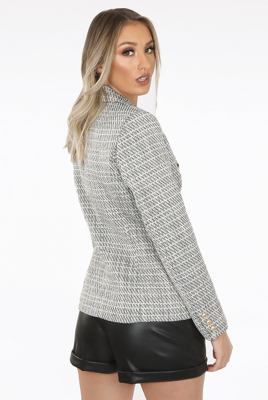 White Black Diagonal Knitted Double Breast Blazer - Saila