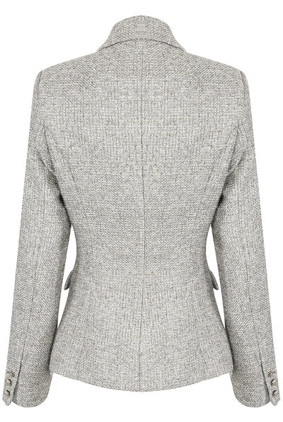 Grey Knitted Thread Double Breast Blazer - Ariana