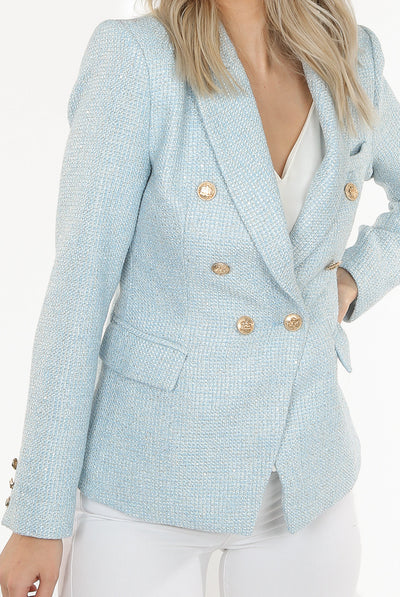 Blue Knitted Thread Double Breast Blazer - Cecelia