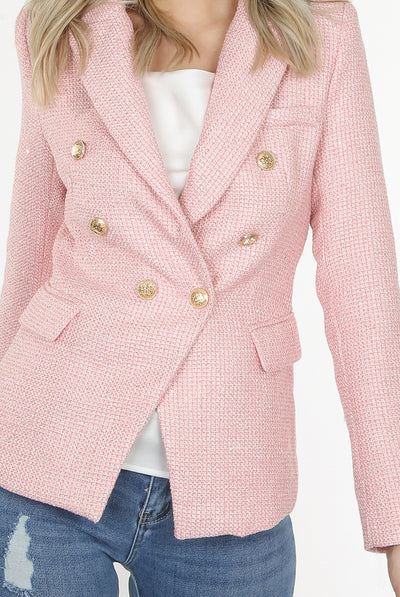 Pink Knitted Thread Double Breast Blazer - Ariana