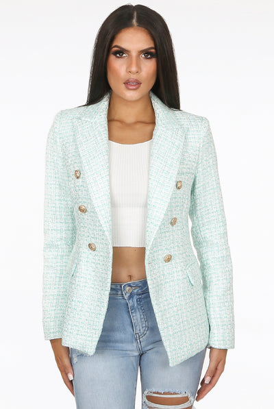Mint Two Tone Threaded Double Breast Blazer - Lily