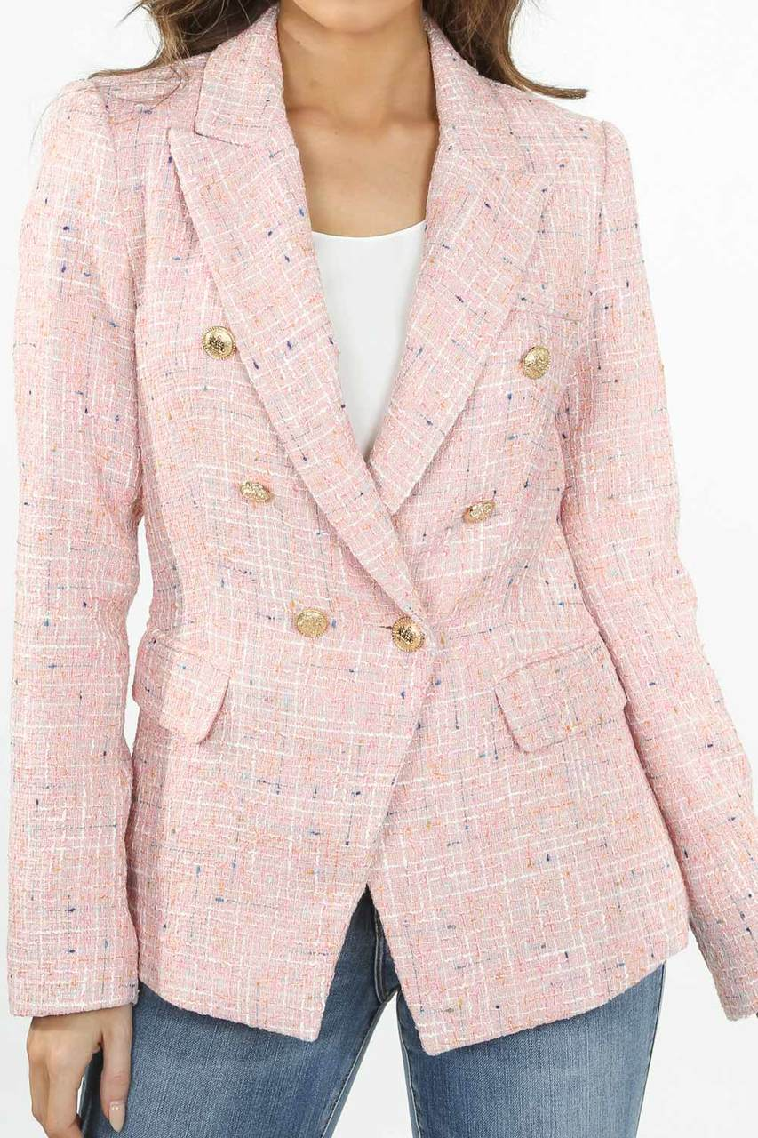 Pink Tone Knitted Thread Double Breast Blazer - Sekora