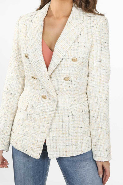 Cream Tone Knitted Thread Double Breast Blazer - Sekora
