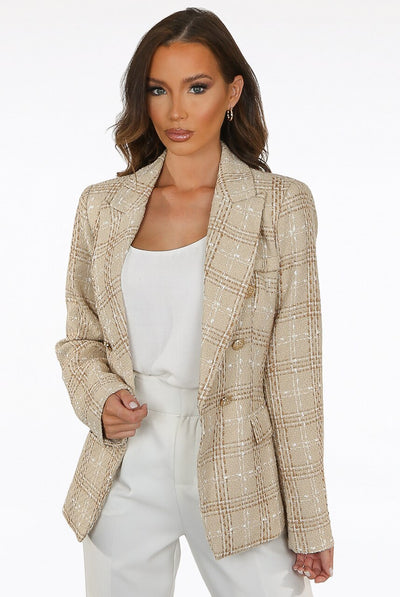 Beige Knitted Check Thread Double Breast Blazer - Ophelia