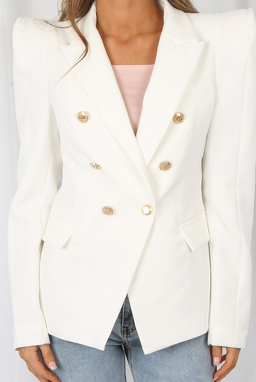 Off White Exaggerated Shoulder Double Breast Blazer - Ryleigh