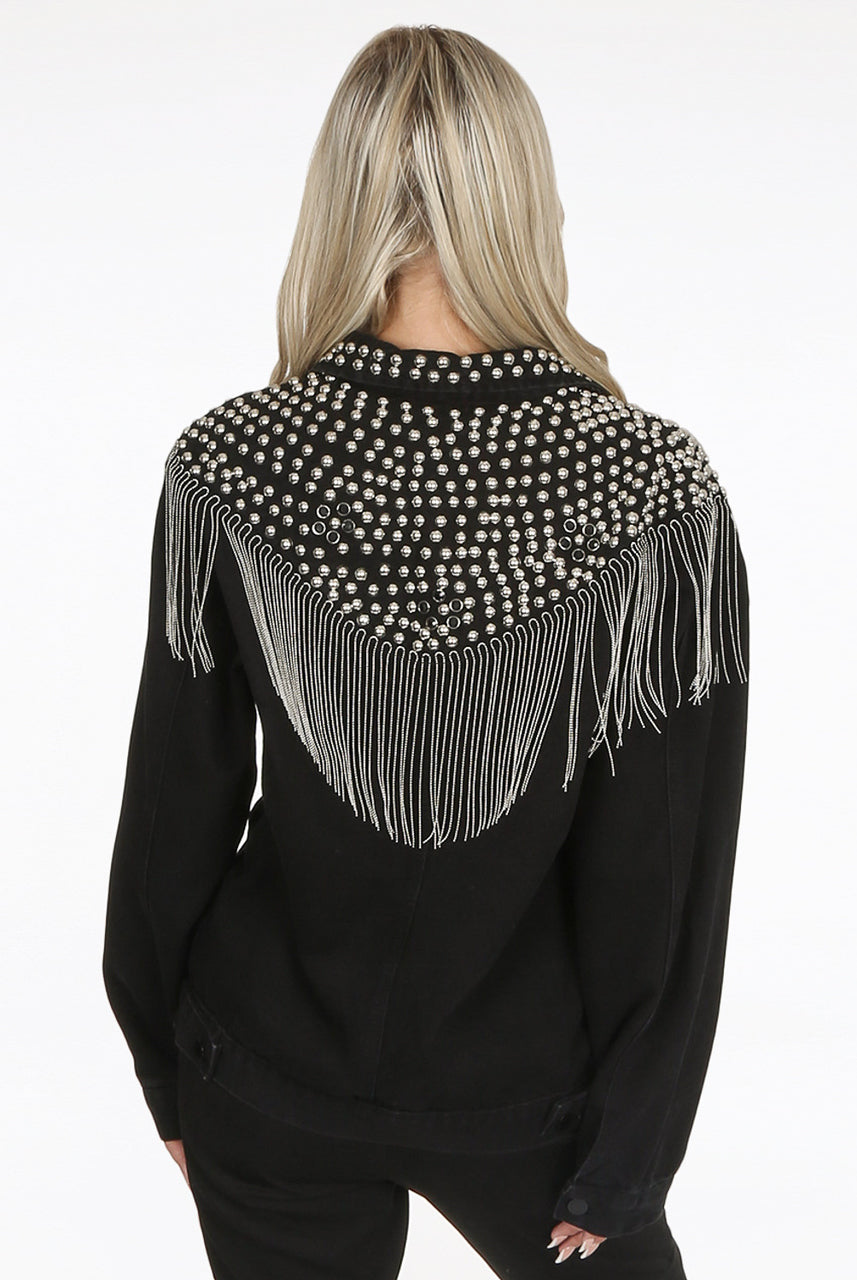 Black Studded Chain Fringe Trim Denim Jacket - Willa