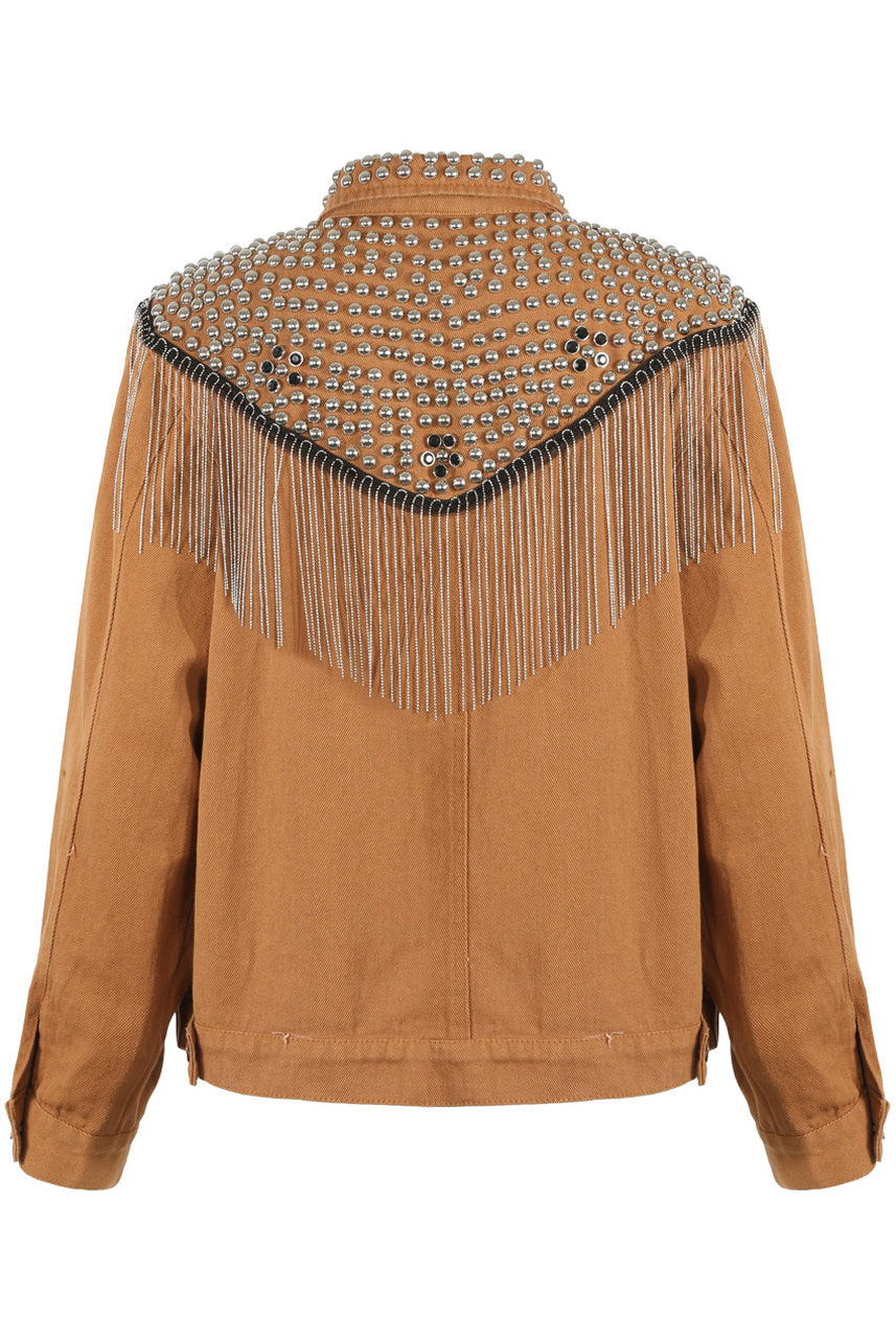 Tan Studded Fringe Denim Jacket - Natalie