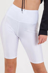 White Satin Disco Cycling Shorts - Helen
