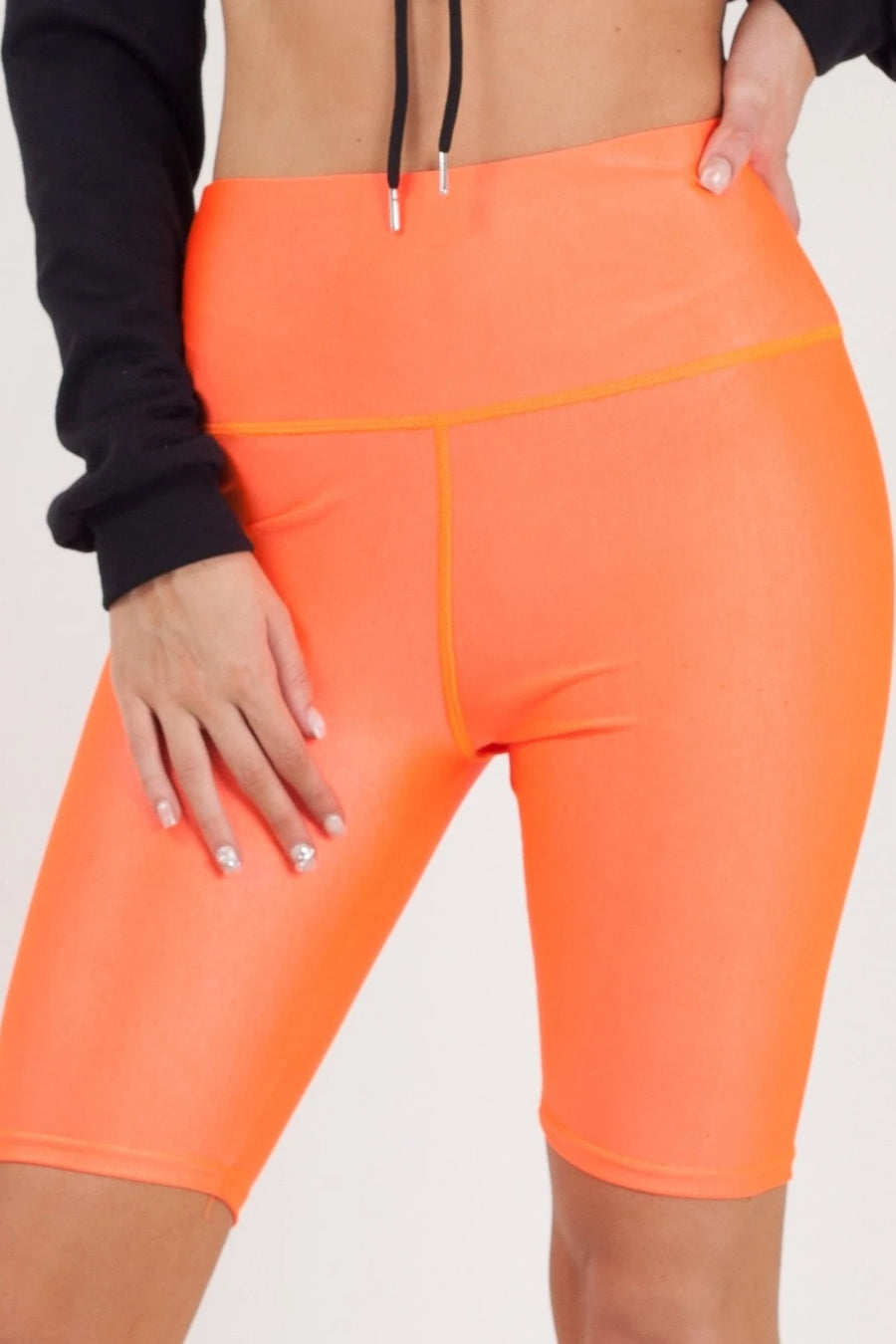 Neon Orange Satin Cycling Shorts - Vanessa