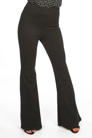 Black High Waisted Crepe Flare Trousers - Everly - storm desire
