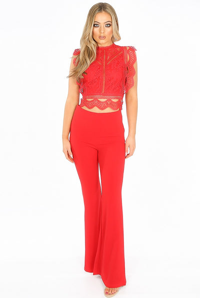 Hot Red High Waisted Crepe Flare Trousers - Everly - Storm Desire