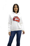 White Sequin Lips Hooded Sweatshirt - Yara