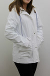 White Waterproof Hooded Festival Rain Mac coat - Lola