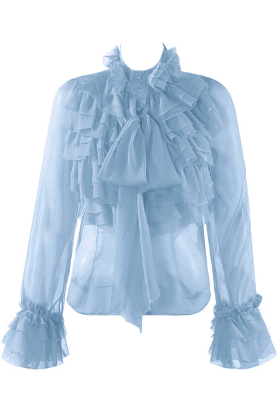 Baby Blue Chiffon Ruffle Bow Frill Trim Blouse Top - Kim - storm desire