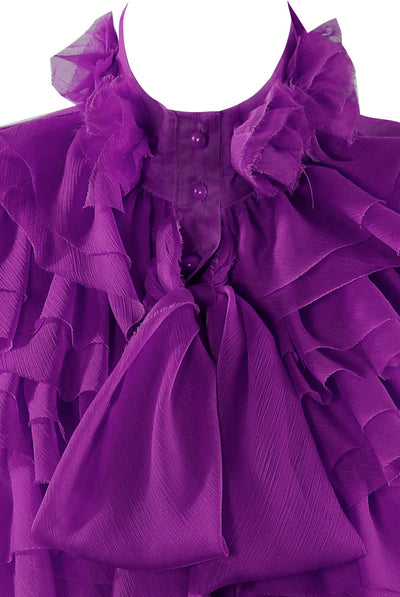 Purple Chiffon Ruffle Bow Frill Trim Blouse Top - Kim - Storm Desire
