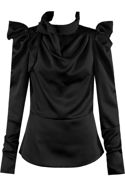 Black Satin Mock Tie Up Neck Top - Lydia - storm desire