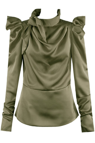 Green Satin Mock Tie Up Neck Top - Lydia - Storm Desire