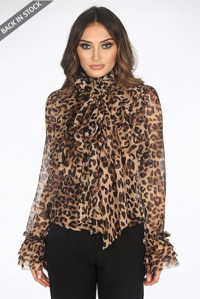 Cheetah Animal Print Chiffon Ruffle Bow Frill Trim Blouse Top - Kim - storm desire