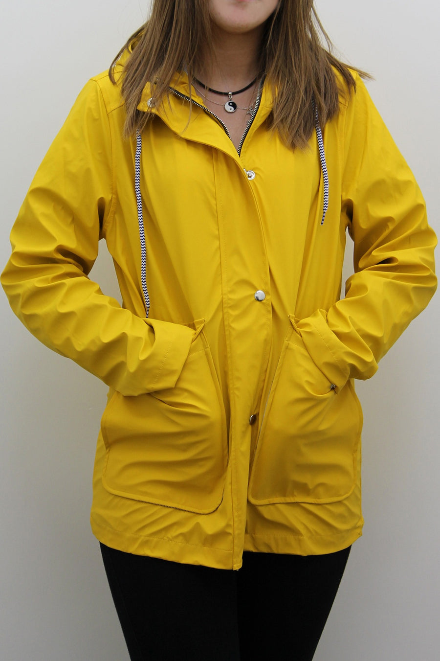 Yellow Waterproof Hooded Festival Rain Mac coat - Lola