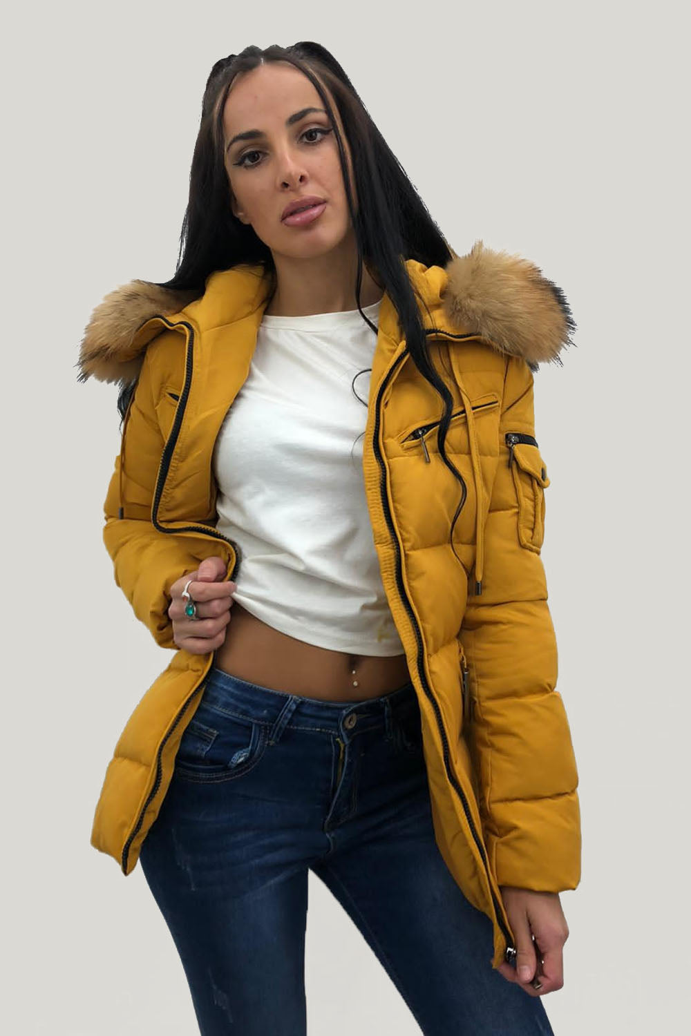 Mustard Quilted Natural Fur Hood Puffer Jacket - Aria