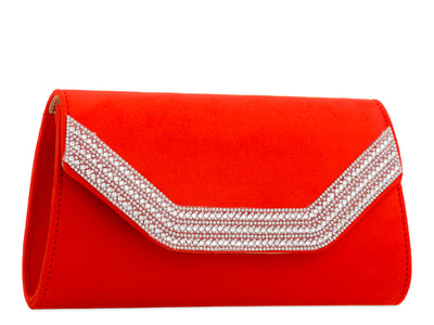 Red Suedette Diamante Trim Clutch Bag - Rosalie