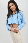 Baby Blue Zip Up Cropped Hoodie - Alexandra