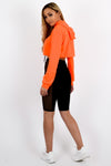Neon Orange Zip Up Cropped Hoodie - Alexandra