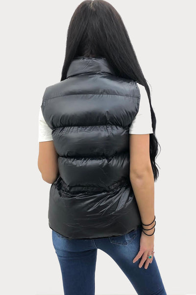 Black Shiny Quilted Gilet - Evie