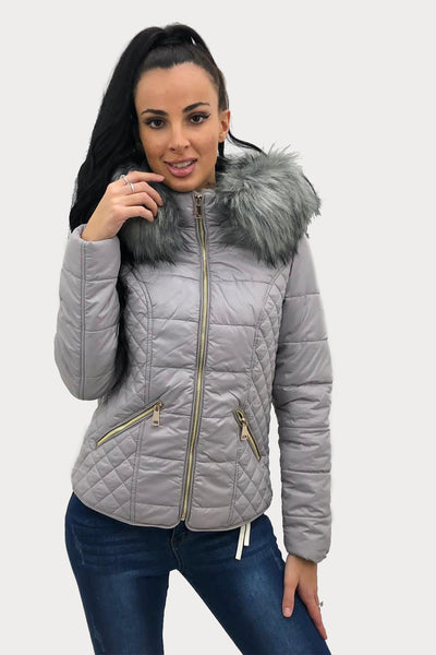 Grey Shiny Faux Fur Hooded Quilt Puffer Jacket - Juliana