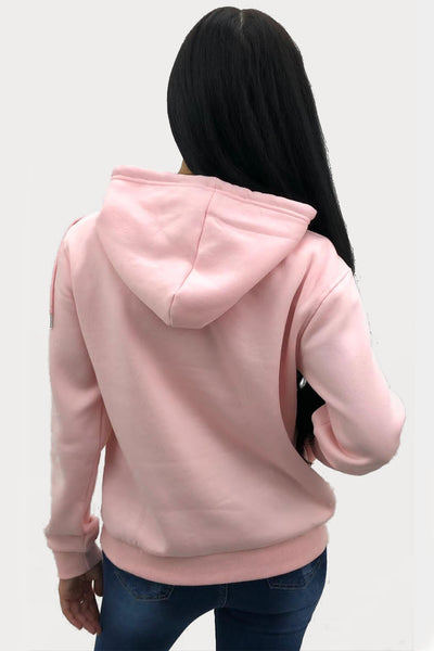Baby Pink Sequin Lips Hooded Sweatshirt - Yara