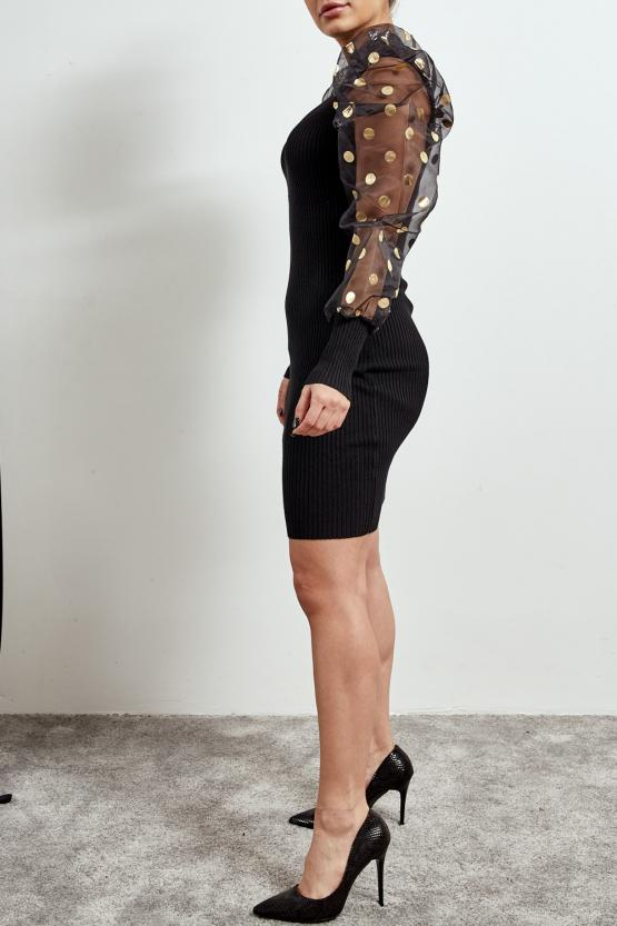 Black Foil Polka Dot Organza Sleeve Ribbed Dress - Evalyn
