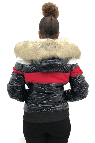 Shiny Black Red White Panel Faux Fur Hood Jacket - Arlo