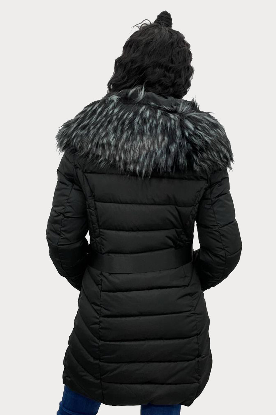 Black Faux Fur Hooded Long Puffer Jacket - Genesis