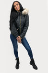 Black Shiny Faux Fur Hooded Quilt Puffer Jacket - Juliana