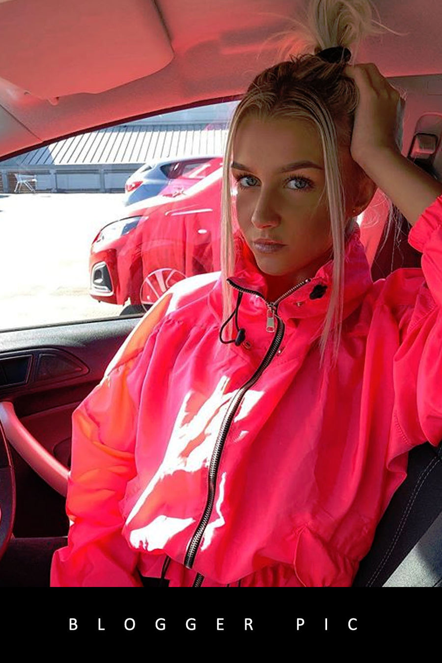 Neon Pink High Neck Hooded Festival Jacket - Parker
