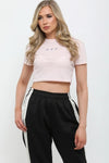 Baby Pink Butterfly Rib Crop Top - Callie