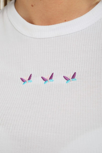 White Butterfly Rib Crop Top - Callie