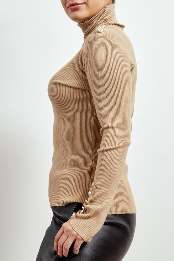 Beige Knitted Gold Button Polo Neck Jumper - Jace