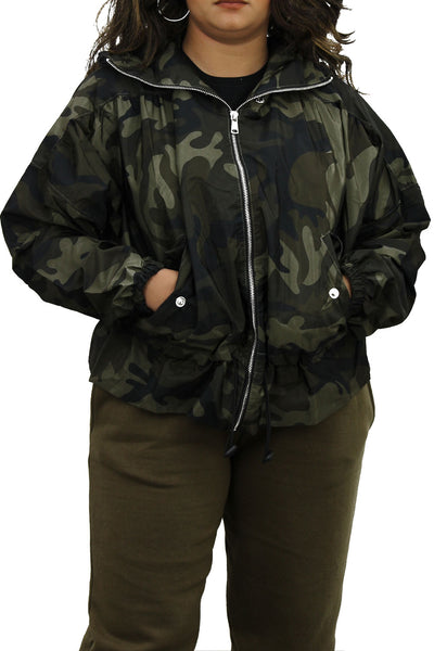 Camo Green High Neck Hooded Festival Jacket - Parker