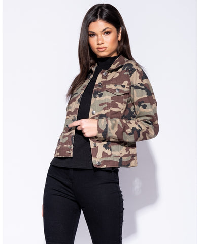 Camouflage Button Front Denim Jacket - Chloe - storm desire