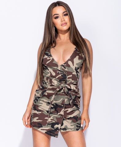 Camouflage Button Waist Tie Asymmetric Mini Dress - Stella - storm desire