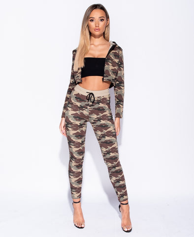 Camouflage Zip Front Hooded Cropped Lounge Set - Luna - storm desire