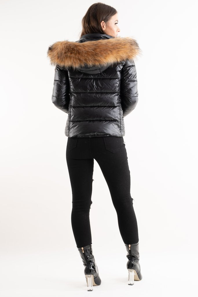 Black Shiny Fur Hood Puffa Jacket - Amy - storm desire