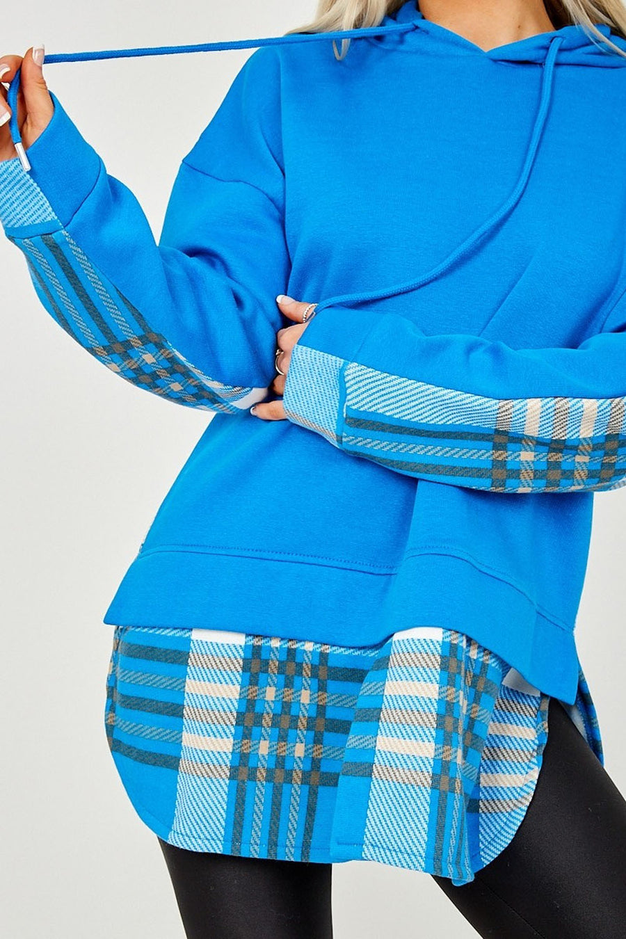 Royal Blue Check Detail Fleece Hoodie - Kelsey