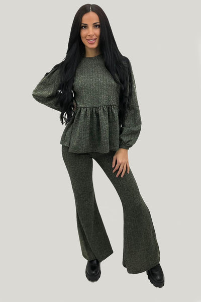 Green Knitted Frill Hem Top & Bell Bottom Pants Co-ord - Daphne