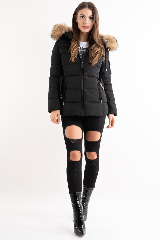 Aria Black Fur Hood Belt Puffer Zip Jacket - storm desire