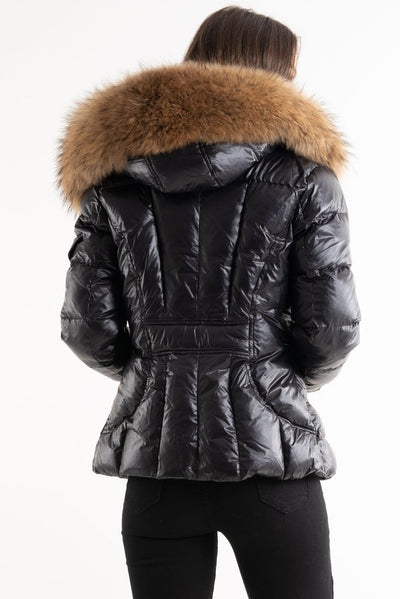 Black Shiny Fur Hood Puffer Quilted Jacket - Hannah - storm desire