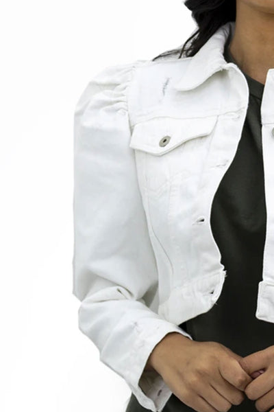 White Denim Puff Sleeve Denim Jacket - Penelope