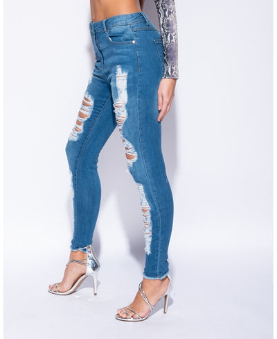Blue Denim Distressed Frayed Hem High Waist Jeans - Julia - storm desire